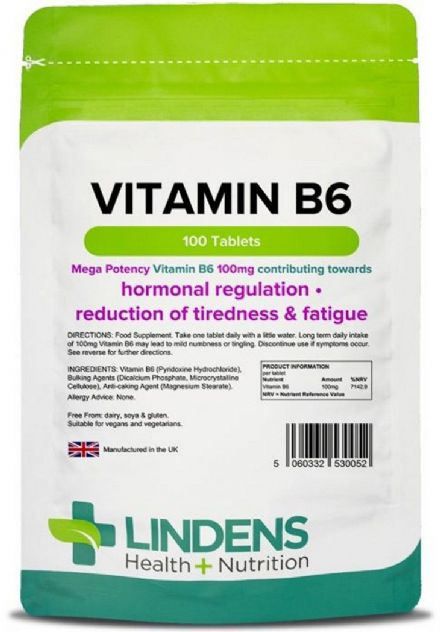 Vitamin B6 100mg x 100 Tablets; One A Day; Energy, Mood, Cramps, PMS; Lindens